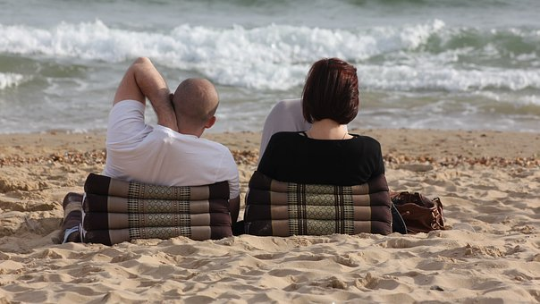 People, Leisure, Couple, Relaxing, Lounging, Ocean, Sea
