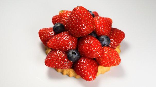 Strawberries, Cake, Tart, Blueberries, Red, Blue