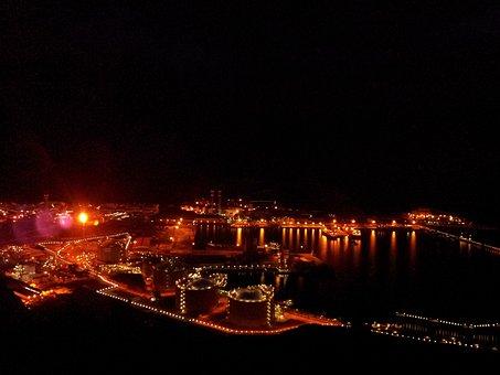 Night, Lights, Refinery, Fire, Flame, City, Sea