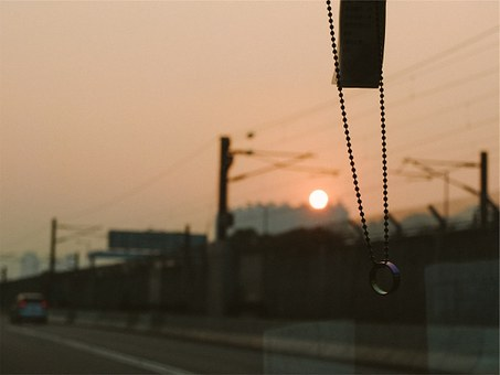 Beads, Ring, Windshield, Driving, Road, Sunset
