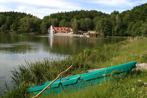 Sohland, Germany, Lake, Building, Canoe, Boat, Grass