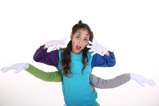 Monster, Kid, Costume, 4 Hands, 4 Eyes, Child, Studio