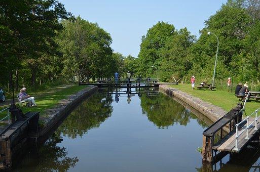 Hjälmare Kanal, Sluice, Västmanland, Sweden, Summer