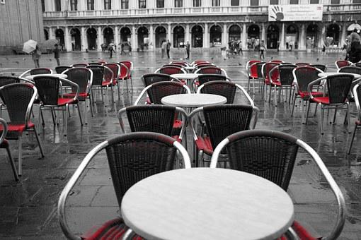 Restaurant, Tables, Chairs, Terrace, Patio, Red
