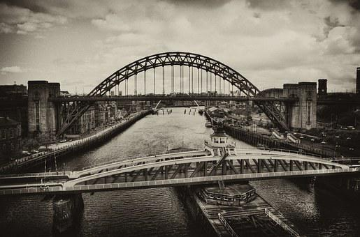 Old, Vintage Sepia, Tyne, Bridge, Swing Bridge, Retro