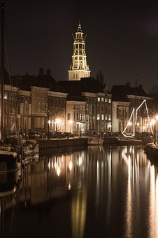 Groningen, Church, Canal, Night, Landmark, A-kerk