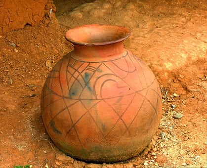 West African Jar, Container, Primitive, Clay, Antique