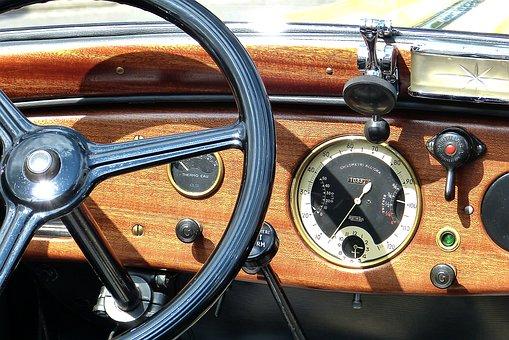 Oldtimer, Auto, Fiat, Steering Wheel, Wood, Speedo