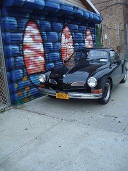 Street Art, Car, Vehicle, Side Walk, Classic, Black