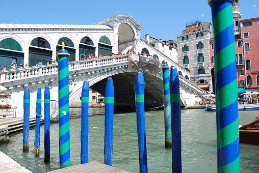 Venice, Bridge, Rialto, Pali, Colorful, Wood, Blue