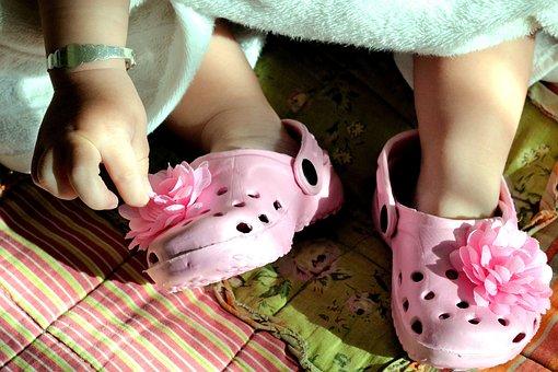 Crocks, Pink, Little Feet