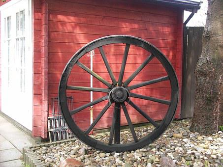 Wagon Wheel, Spokes, Farmhouse, Antique, Wood