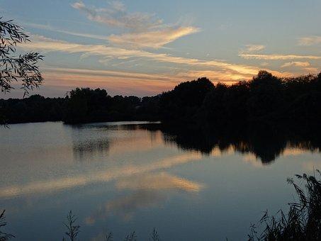 Sunset, Brognard, Doubs, Franche-comté, Lake, Forest