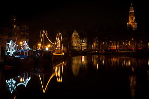 Groningen, Night, Lights, Boats, Water, City, Old