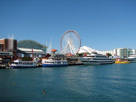 Chicago Navy Pier, Chicago, Navy, Lake, Illinois, City