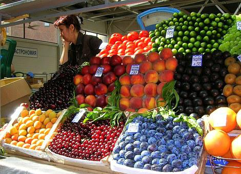 Market, Fruit, Mixed Fruit, Color, Summer, Vendor