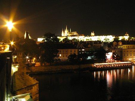 Prague, Praha, Castle, Night, Night Photo, Lantern
