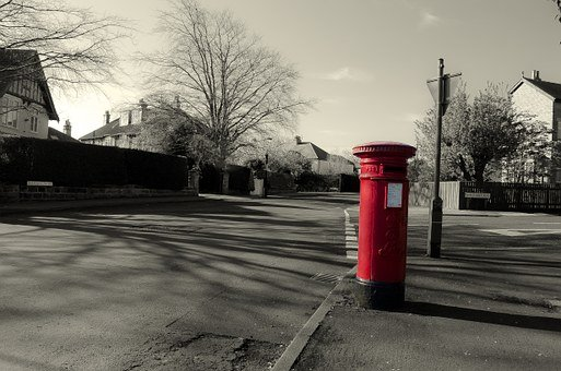 Mailbox, Red, England, Architecture, Business, Symbol