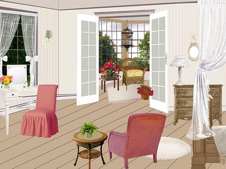 Room, Living Room, Hairdresser, Glazed Doors, Lamp