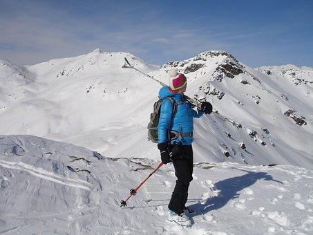 Skiers, Skiing, Woman, Backcountry Skiiing, Ski Touring