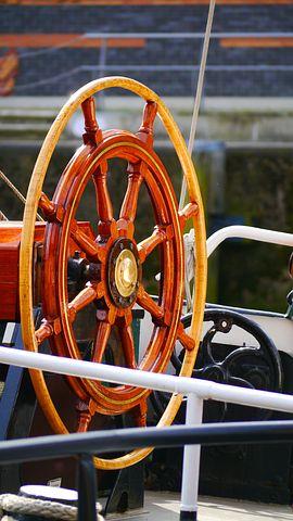 Steering Wheel, Sailing Vessel, Wood, Brass, Spokes