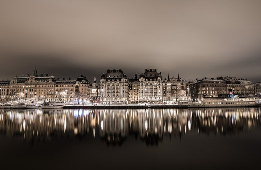 Reflection, City, Water, Night Photo, Stockholm
