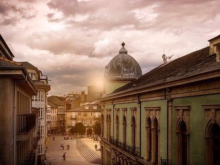 Lugo, Galicia, Spain, City, Sunset, Dusk, Light, Golden