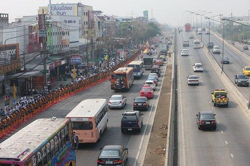 Thailand, Street, Traffic, Monks, Walking, Cars, Road