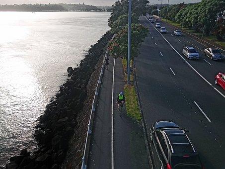 Morning, Cyclist, Traffic, Summer, Helmet, Athlete