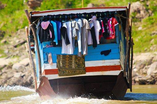 Boat, Upriver, River, Water, Travel, Transportation