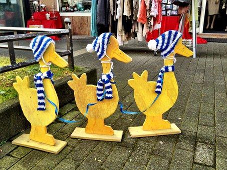 Duck, Wooden, Group, Figure, Blue, White, Scarf, Bonnet