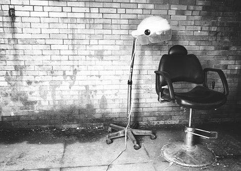 Barber, Chair, Bricks, Wall, Concrete, Black And White