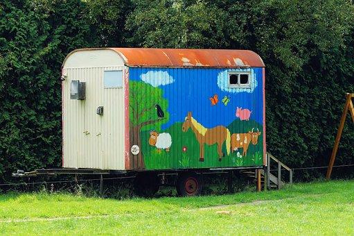 Bauwagen, Colorful, Colored, Playroom, Artwork