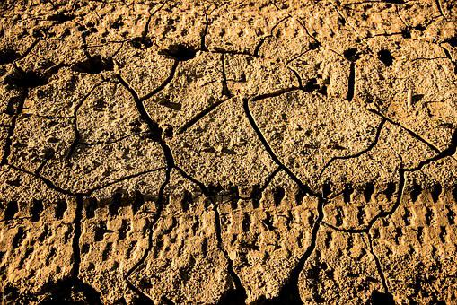 Footprints, Wheel, Drought, Cracks, Mud, Clay, Earth