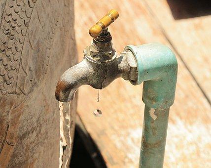 Water, Drip, Faucet, Jar, Azure, Brass, Sunlight