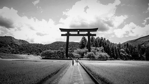 Black White, Countryside, Field, Japan, Japanese