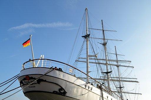 Gorch Fock 1, Sailing Vessel, Mast, Masts, Port, Ship