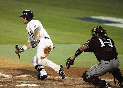 Baseball, College Baseball, Bat, Catcher, Runner, Hit