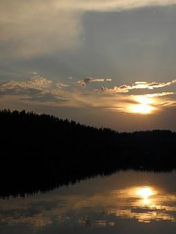 Sunset, Summer, Savonlinna, Finnish, Lake In Finland