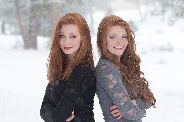 Sisters, Redheads, Beautiful, Happy, Snow, Girls