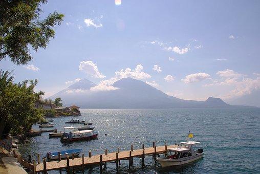 Guatemala, San-pedro, Lake, Atitlan, Pier, Volcanoes
