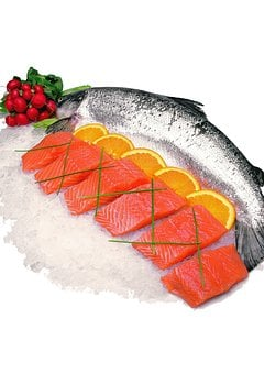 Sea, Fish, On Ice, Salmon, Raw, Food, Meat