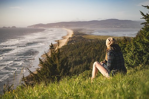 Beach, Coast, Grass, Nature, Ocean, Person, Sea, Shore