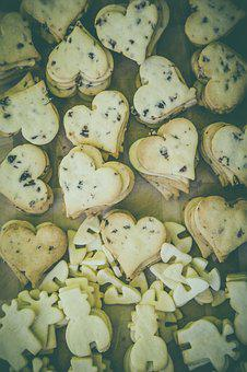 Baked, Cookies, Food, Heart, Stack, Sweets