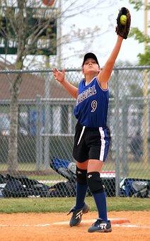 Softball, Girls Softball, First Base, Catch, Teenager