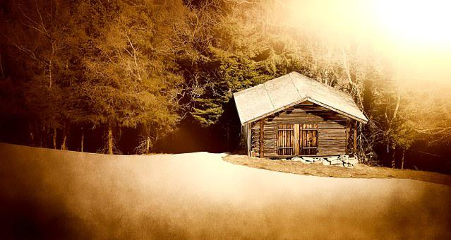 Log Cabin, Wood Mint, Mountain Hut, Meadow, Glade