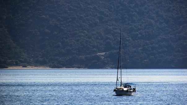 Greece, Pelio, Peninsula, Yacht, Landscape, Coast, Hazy
