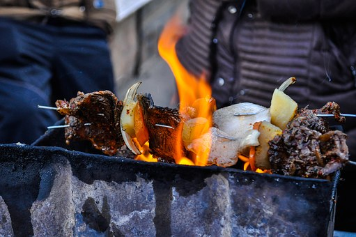 Barbecue, Kebab, Grill, Food, Meat, Cooking, Meal, Fire
