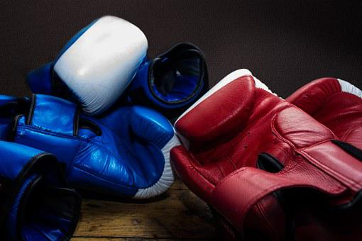 Gloves, Box, Training, Boxing Arena, Red, Blue