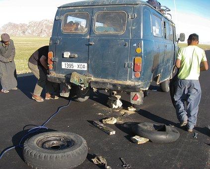Car Breakdown, Breakdown, Van, Wheels, Mongolia